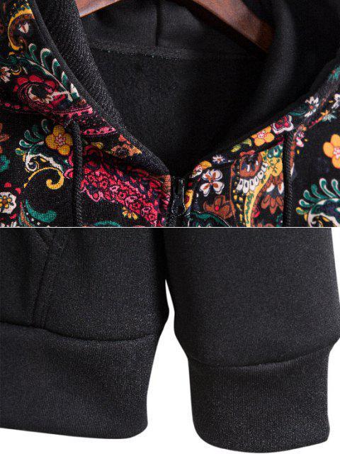hot Hooded Paisley Print Fleece Jacket - BLACK XL Mobile