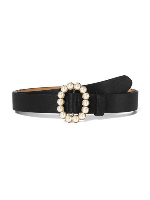 women Faux Pearl Oval Buckle Belt - BLACK  Mobile