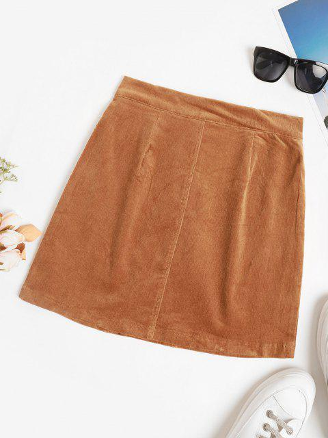 fancy High Waisted Corduroy Solid Mini Skirt - COFFEE S Mobile