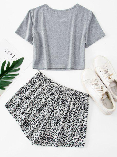 Basic Crop Tee and Leopard Two Piece Shorts Set - اللون الرمادي S Mobile
