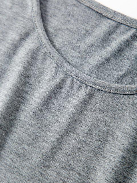 Basik Crop T-Shirt und Leopard Zweiteilige Shorts Set - Grau S Mobile