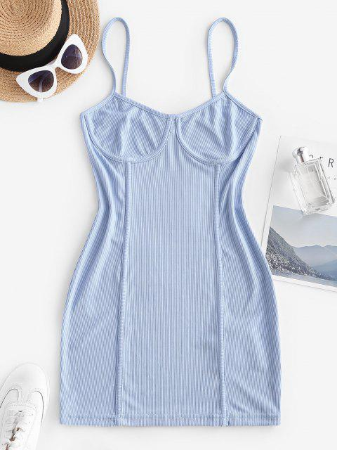 Geripptes Bodycon Cami Kleid mit Naht Detail - Hellblau L Mobile