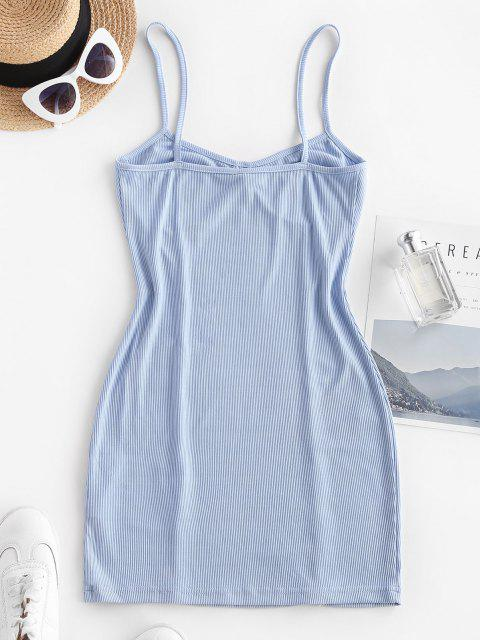 sale Ribbed Seam Detail Bodycon Cami Dress - LIGHT BLUE XS Mobile
