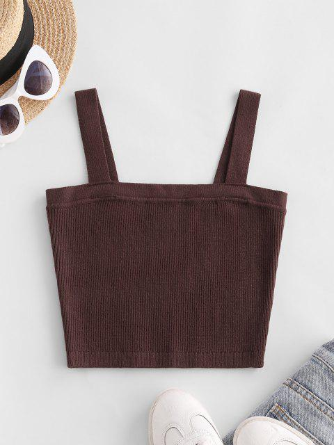 affordable Ribbed Knit Crop Tank Top - DEEP COFFEE S Mobile