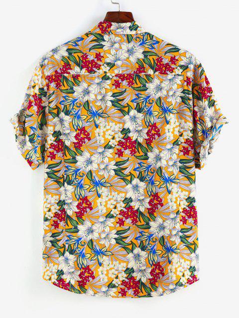ZAFUL Allover Flower Print Button Up Shirt - أبيض XL Mobile