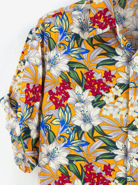 fancy ZAFUL Allover Flower Print Button Up Shirt - WHITE L Mobile