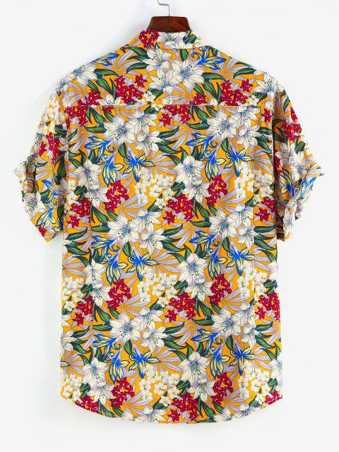 affordable ZAFUL Allover Flower Print Button Up Shirt - WHITE M Mobile