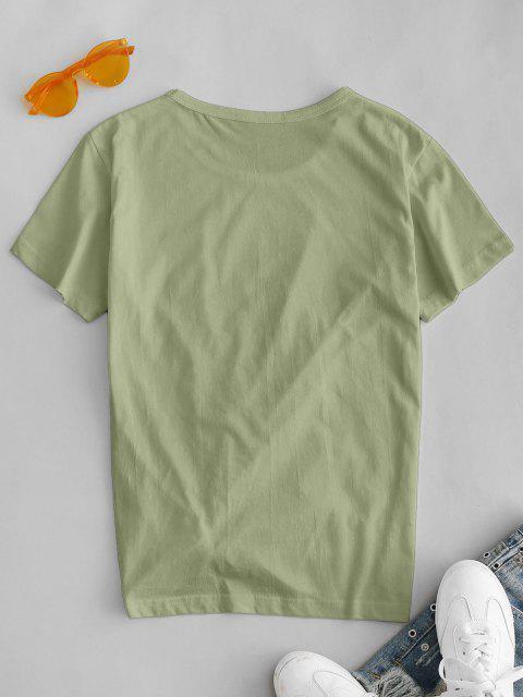 Camiseta de Figura Planeta impressão de Manga Curta - Luz verde M Mobile
