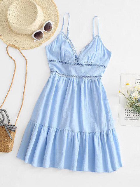 Gebundenes Hem V Ausschnitt Blumen Aushöhlende Kleid - Helles Blau XL Mobile