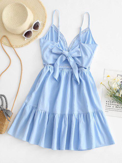 Gebundenes Hem V Ausschnitt Blumen Aushöhlende Kleid - Helles Blau M Mobile