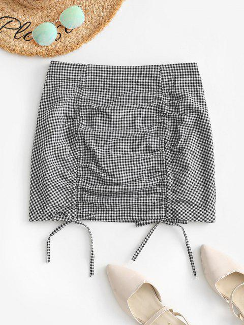 buy Cinched Front Gingham Mini Skirt - BLACK M Mobile