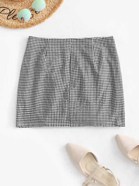 fancy Cinched Front Gingham Mini Skirt - BLACK S Mobile