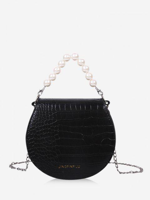Faux Pearl Handle Chain Handbag - أسود  Mobile