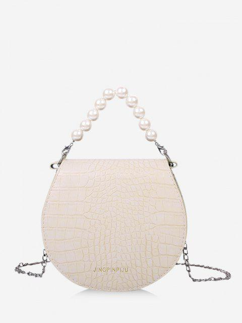online Faux Pearl Handle Chain Handbag - CRYSTAL CREAM  Mobile