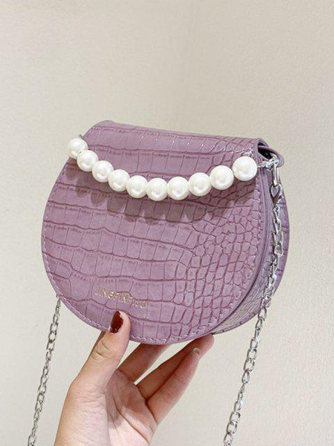 new Faux Pearl Handle Chain Handbag - LILAC  Mobile