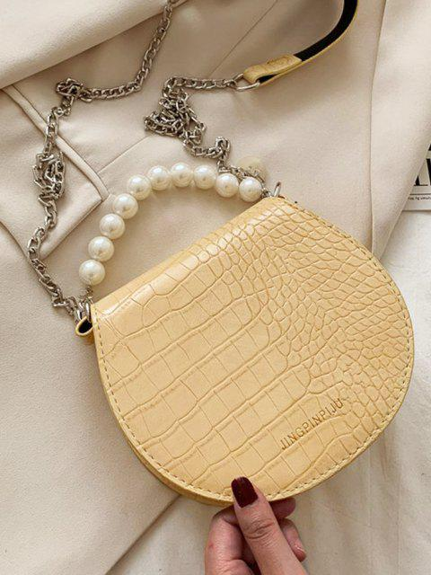 Kunstperlen Griff Kette Handtasche - Goldrute  Mobile