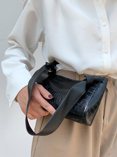 Strukturierte Geknotete Umhängetasche - Schwarz  Mobile