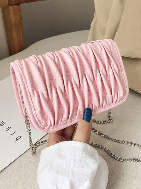Pleated Chain Crossbody Bag - خنزير وردي  Mobile