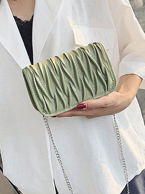 Pleated Chain Crossbody Bag - البحر الاخضر  Mobile