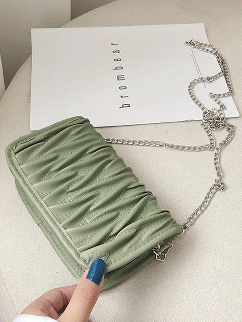 fancy Pleated Chain Crossbody Bag - SEA GREEN  Mobile