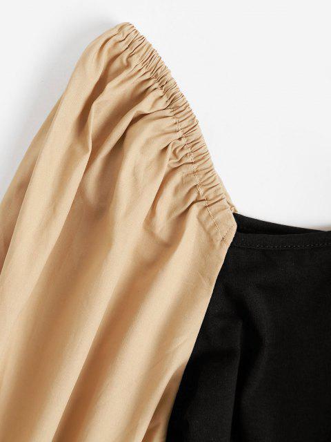 womens High Cut Poet Sleeve Combo Bodysuit - BLACK L Mobile