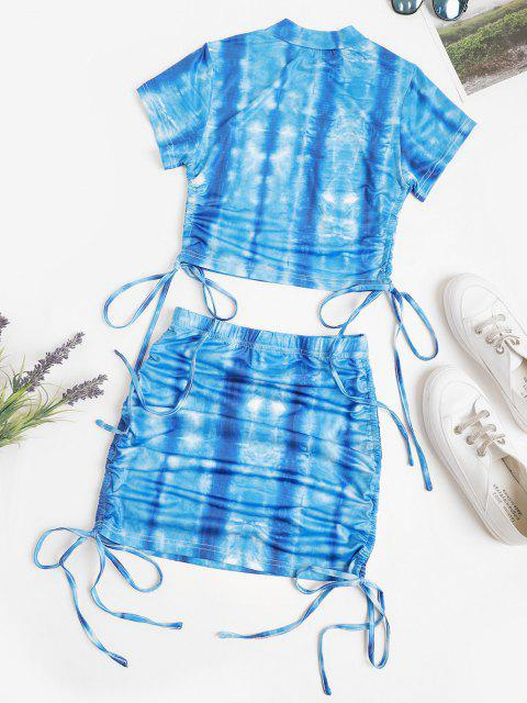 online Tie Dye Cinched Cropped Two Piece Dress - BLUE S Mobile
