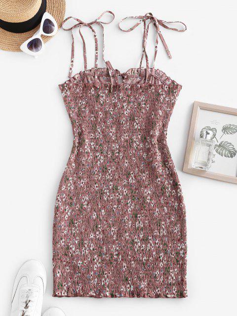 Gebundenes Blumen Kittel Rüsche Schulter Schlüsselloch Kleid - Hell-Pink S Mobile