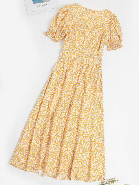 buy Ditsy Floral Slit Puff Sleeve Milkmaid Dress - YELLOW L Mobile