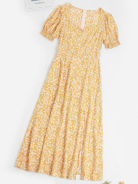 women's Ditsy Floral Slit Puff Sleeve Milkmaid Dress - YELLOW S Mobile