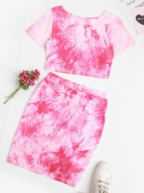 trendy Tie Dye Cinched Two Piece Skirt Set - LIGHT PINK M Mobile