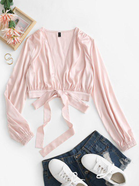 trendy Satini Tied Plunging Crop Blouse - LIGHT PINK M Mobile