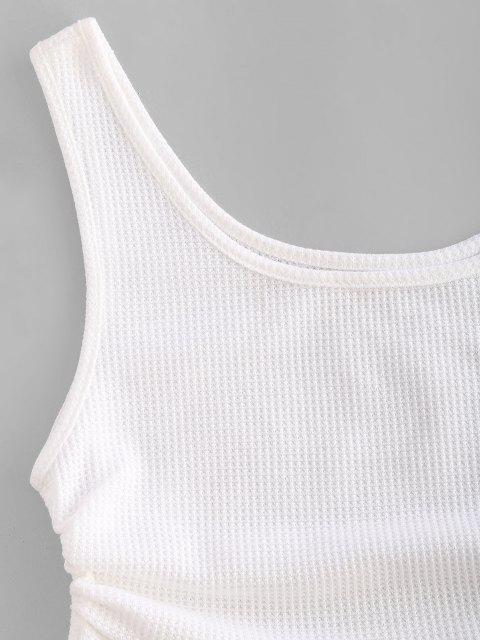 Débardeur Court Texturé en Tricot à Volants - Blanc XL Mobile