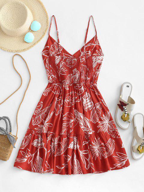 Vestido con Volantes y Estampado de Hoja - Rojo XL Mobile