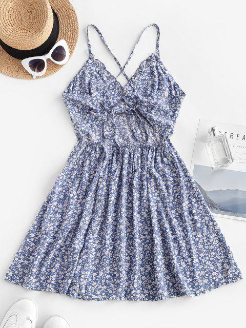 women's Ditsy Floral Criss Cross Frilled Cami Dress - BLUE S Mobile