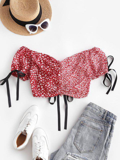 lady Floral Colorblock Cinched Puff Sleeve Crop Blouse - RED S Mobile
