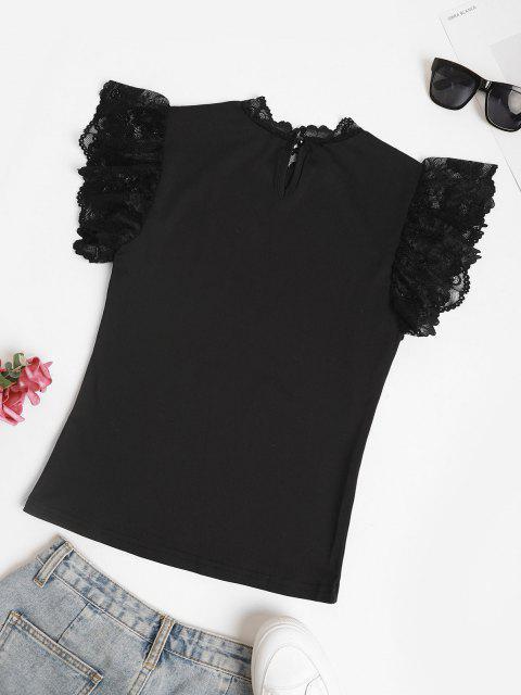 shops Scalloped Lace Panel Ruffled Sleeve Blouse - BLACK M Mobile