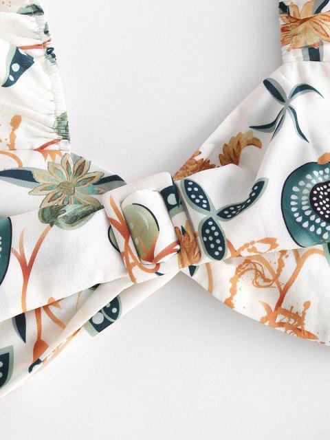 chic Ruffle Knot Flower Two Piece Palazzo Pants Set - WHITE XS Mobile