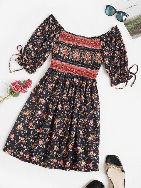 affordable Ditsy Floral Smocked Puff Sleeve Mini Dress - DEEP BLUE S Mobile