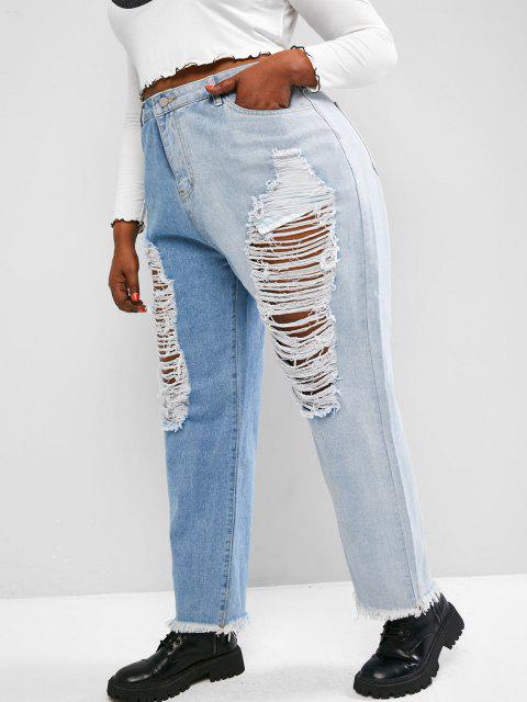 fashion Plus Size Ladder Distressed Contrast Tapered Jeans - LIGHT BLUE 2XL Mobile
