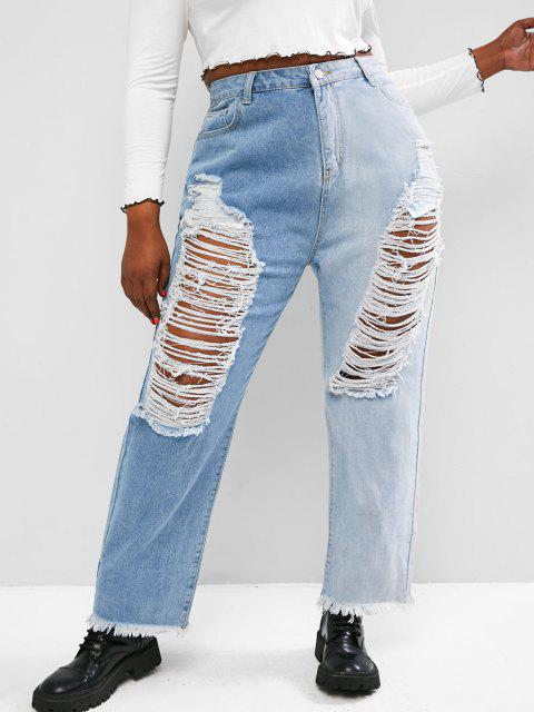 fancy Plus Size Ladder Distressed Contrast Tapered Jeans - LIGHT BLUE 4XL Mobile