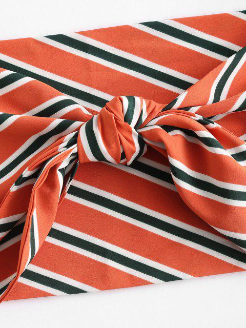 latest ZAFUL Plus Size Striped Tie Front Bandeau Top Set - MULTI 4XL Mobile