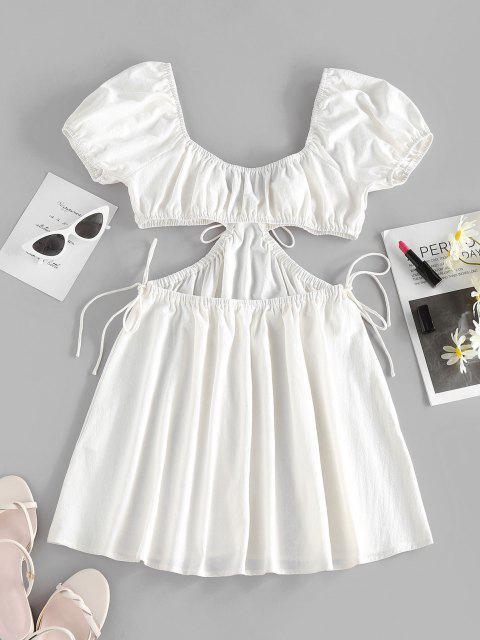 ZAFUL Gebundenes Puff Ärmel Plunge Kleid - Weiß XL Mobile