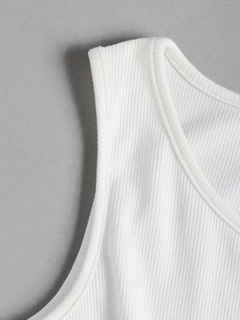 womens ZAFUL Ribbed Tie Front Plus Size Cropped Tank Top - WHITE 3XL Mobile