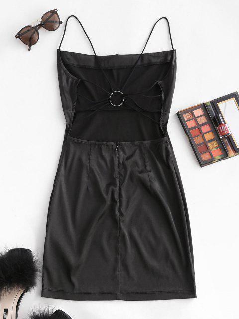 new Satin Straps Ring Backless Draped Cami Dress - BLACK M Mobile