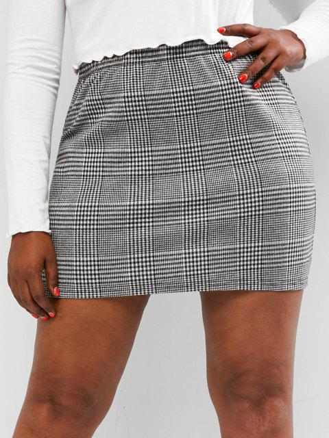 best ZAFUL Plus Size Houndstooth Slinky Mini Skirt - MULTI 5XL Mobile