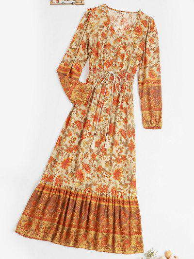 Button Loop Bohemian Printed Tassels Maxi Dress - Deep Yellow L