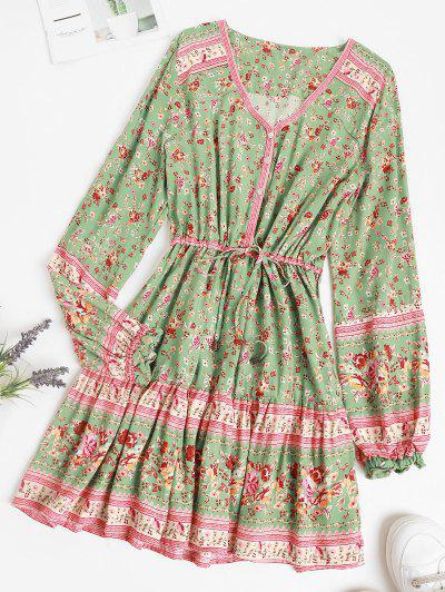 Button Loop Poet Sleeve Bohemian Floral Dress - Light Green L