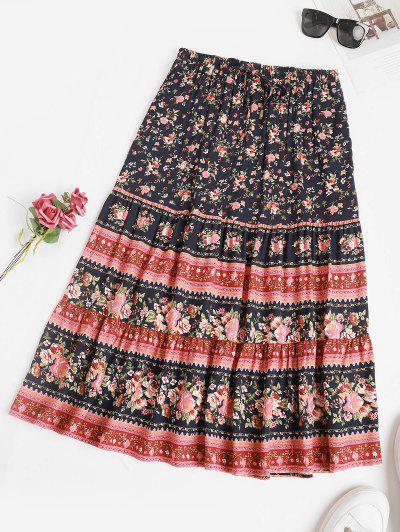 Drawstring Bohemian Floral Midi Skirt - Deep Blue L