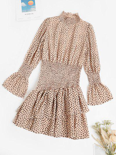 Smocked Spotted Print Poet Sleeve Layered Dress - Light Coffee L