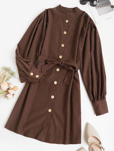 Belted Casual Balloon Sleeve Shirt Dress - Deep Coffee S